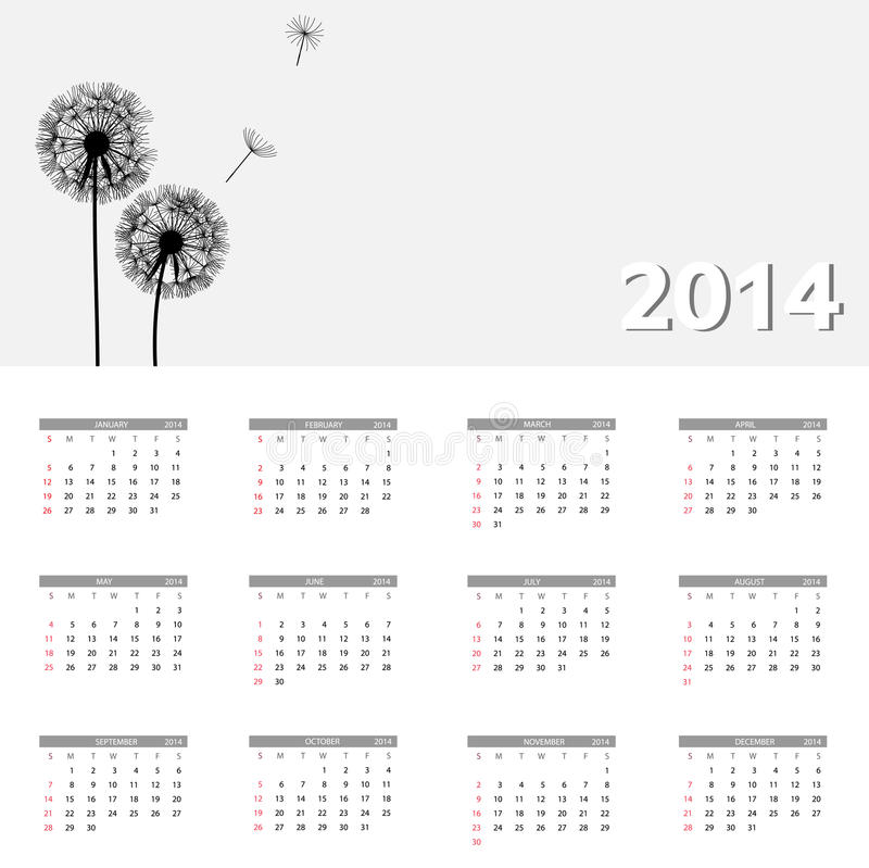 Download 2014 New Year Calendar Vector Illustration Stock Vector - Illustration of date, confetti: 31682263