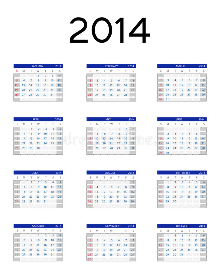 Download 2014 New Year Calendar Vector Illustration Stock Vector - Image: 31682315