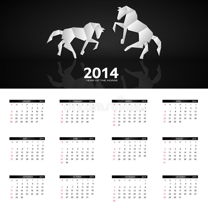 Download 2014 New Year Calendar Vector Illustration Stock Image - Image of abstract, january: 32060099