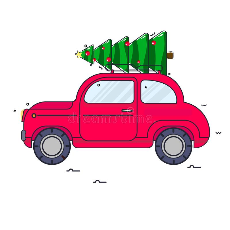 New Year. The red car carries a Christmas tree. Vector vintage image royalty free illustration