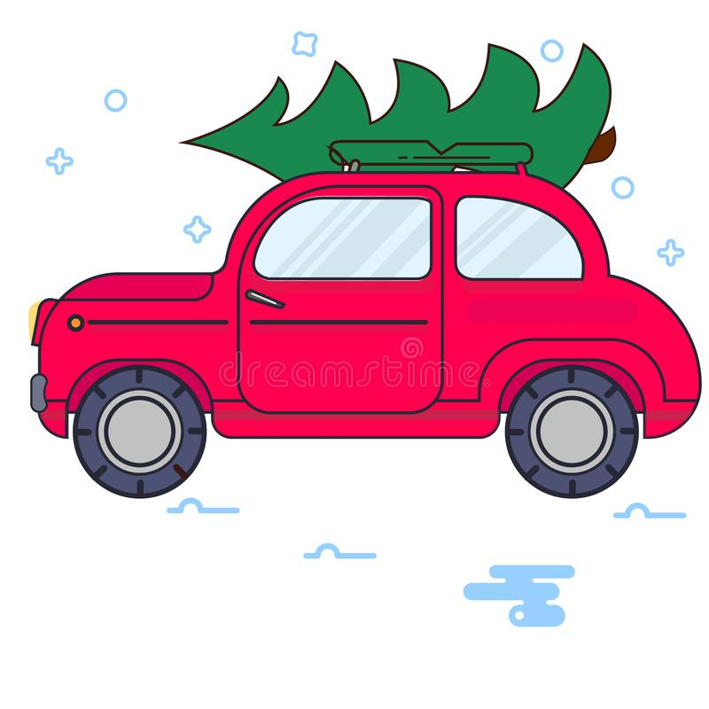 New Year. The red car carries a Christmas tree. Vector vintage image vector illustration