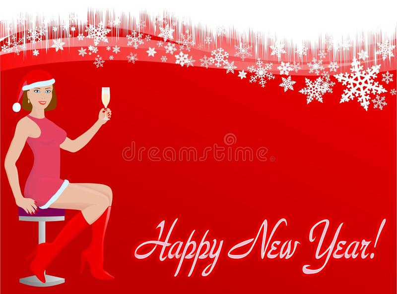 Download New year card stock illustration. Image of champagne - 17809573