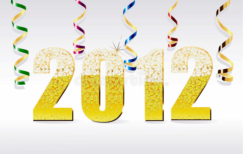 New Year card 2012 made from champagne bubb vector illustration