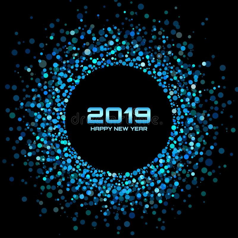 New Year 2019 card background. Christmas holiday. Confetti circle holiday frame. Blue party. Vector illustration. stock illustration