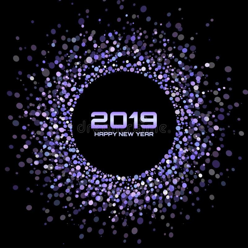New Year 2019 Card Background. Circle Shiny Disco Lights. Christmas. Confetti circles dot texture. Vector illustration. royalty free illustration