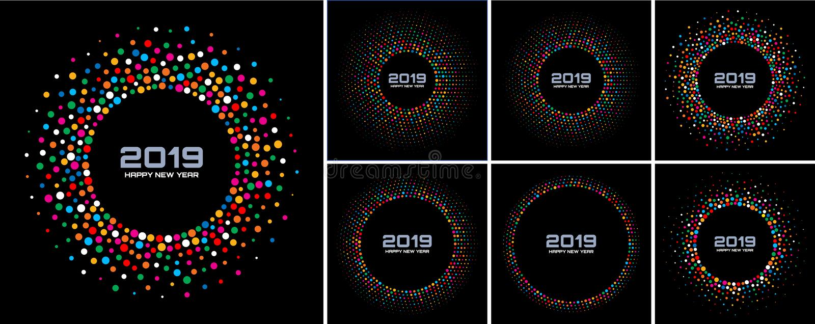 New Year 2019 Card Backgrounds set. Bright Colorful Disco Lights Confetti Circle Frame isolated on black background. vector illustration