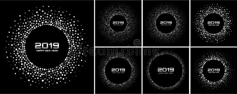 New Year 2019 Card Backgrounds set. Glitter paper white confetti. Glistening Gray Disco Lights. Silver confetti frame stock illustration