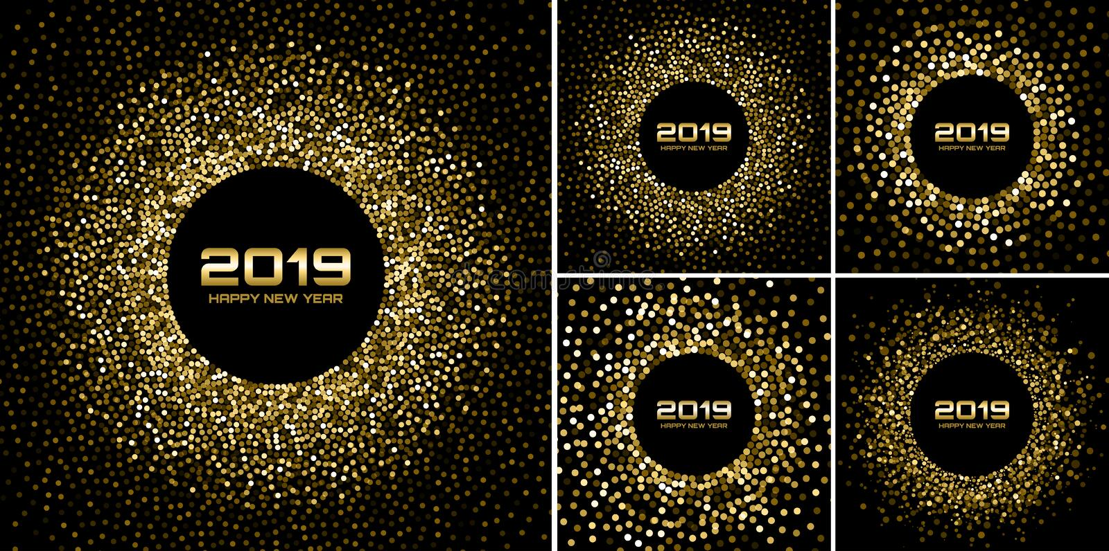 New Year 2019 Card Backgrounds set. Gold glitter paper confetti. Glistening Golden Disco Lights. royalty free illustration