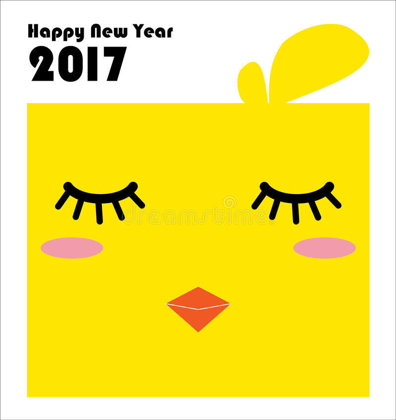 New Year 2017 card with chinese zodiac, The Year of the Rooster. royalty free stock photography