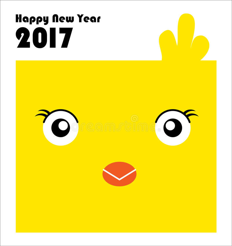 New Year 2017 card with chinese zodiac, The Year of the Rooster. royalty free stock images