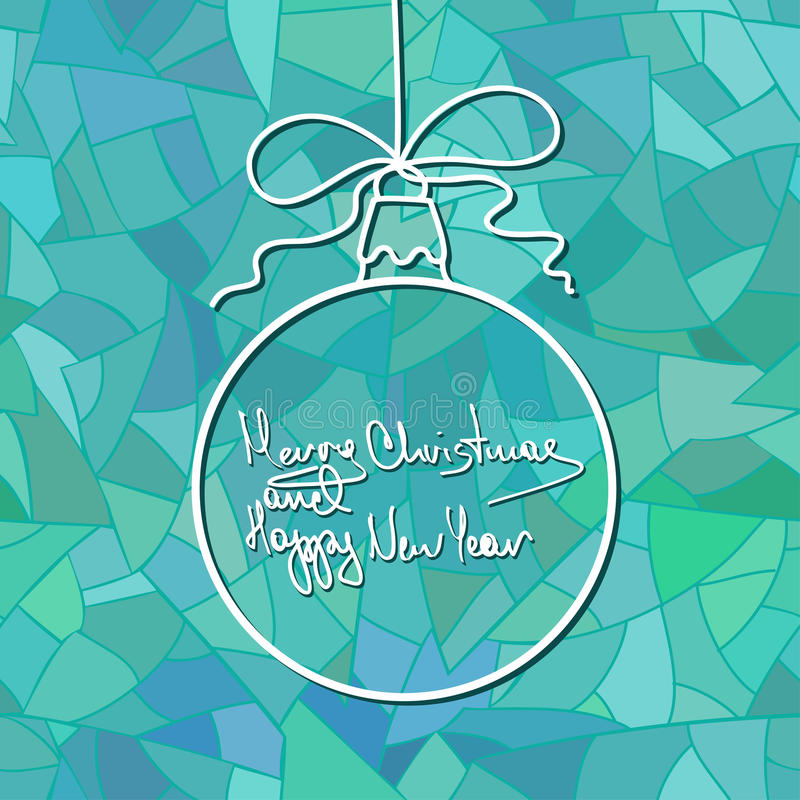 New Year card with Christmas ball decoration