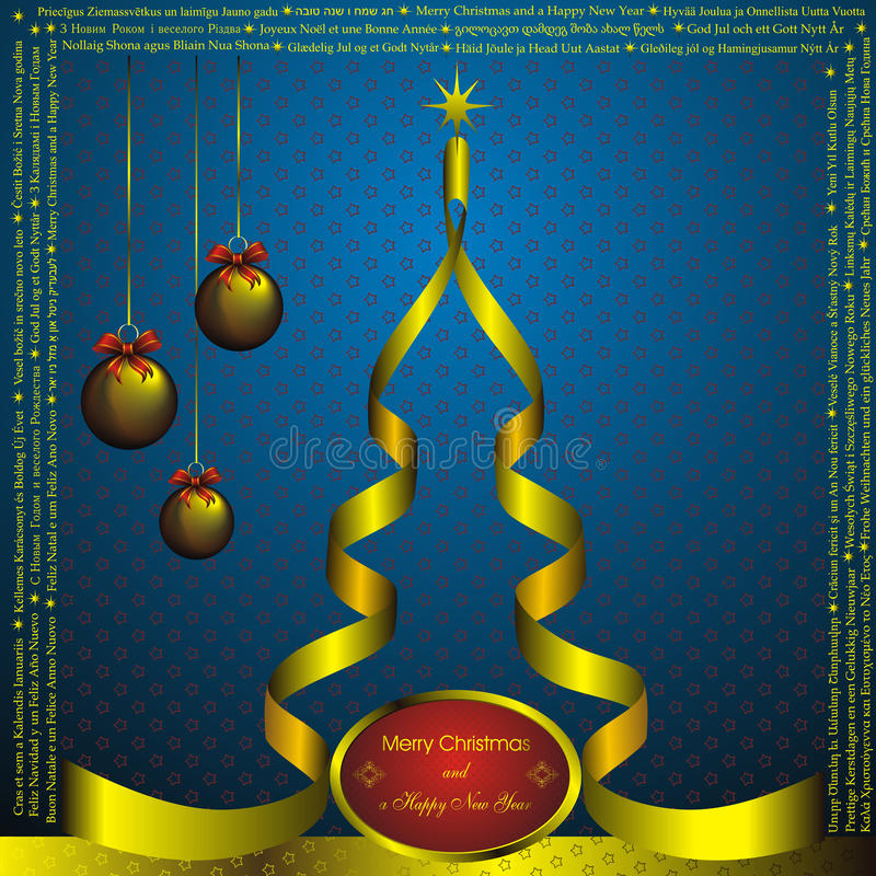 New year card with Christmas wishes stock illustration