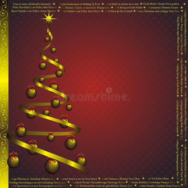 New year card with Christmas wishes vector illustration