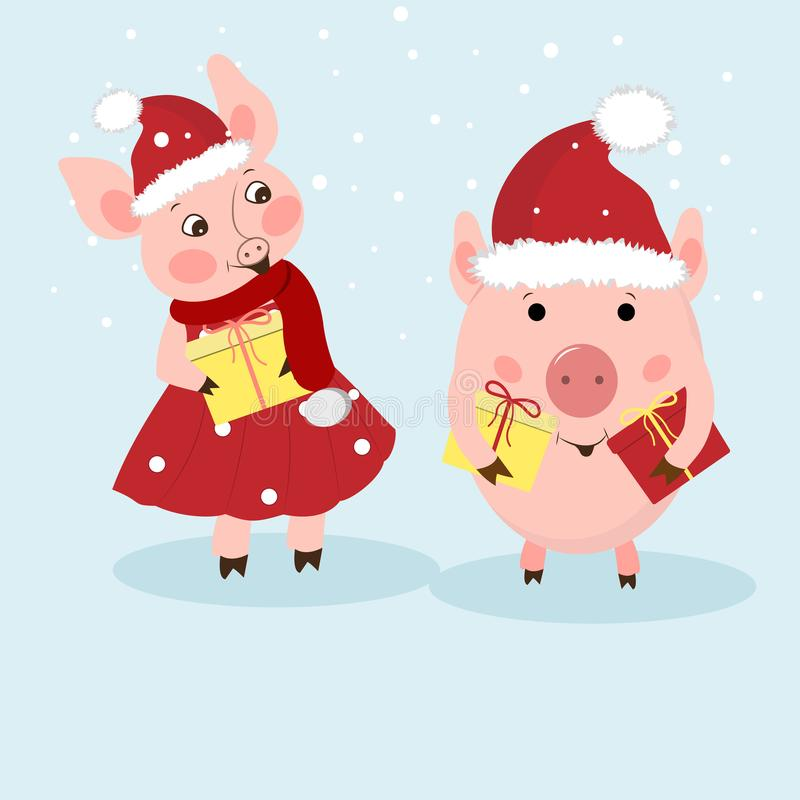 New Year card. A couple of funny piglets congratulates on a holiday. Pigs in Santa`s hats, dress, scarf. Vector illustration in.  stock illustration