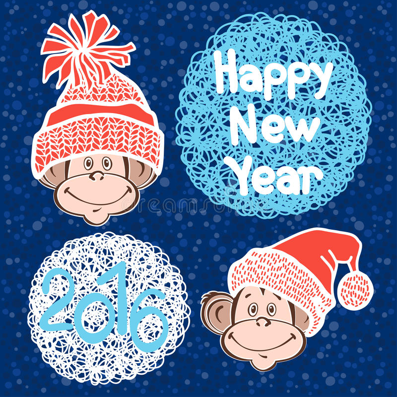 2016 new year card with cute monkeys. Vector illustration.Symbo stock illustration