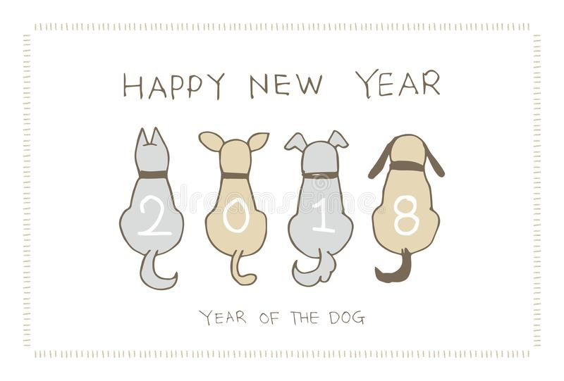 New Year Card with dogs for 2018 vector illustration