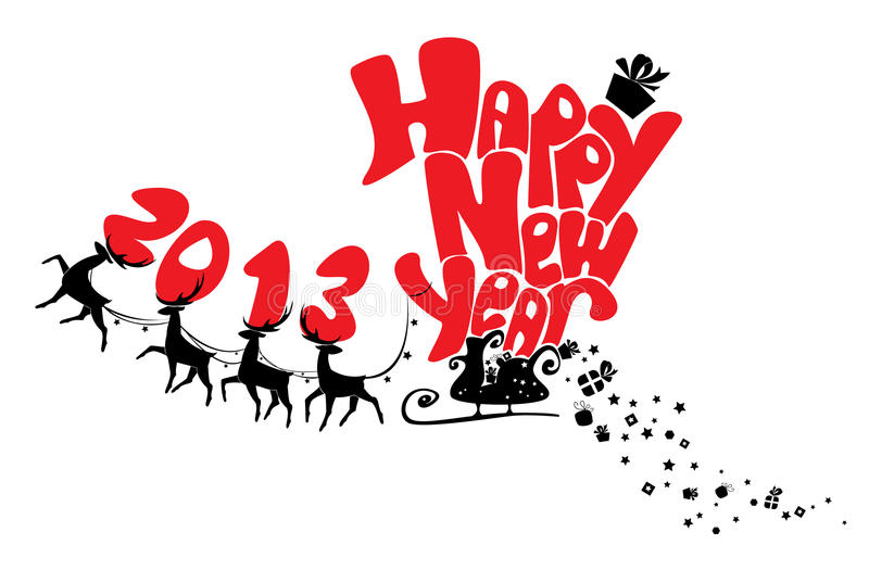 New Year Card With Flying Reindeers 2013 Royalty Free Stock Photo