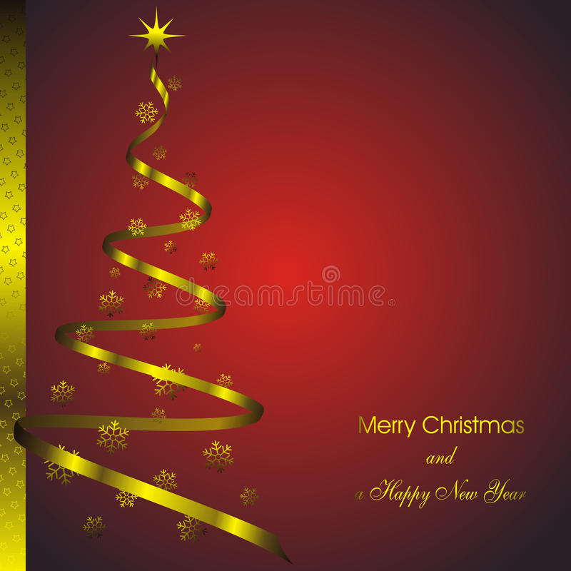 New Year Card With Golden Decor Stock Images