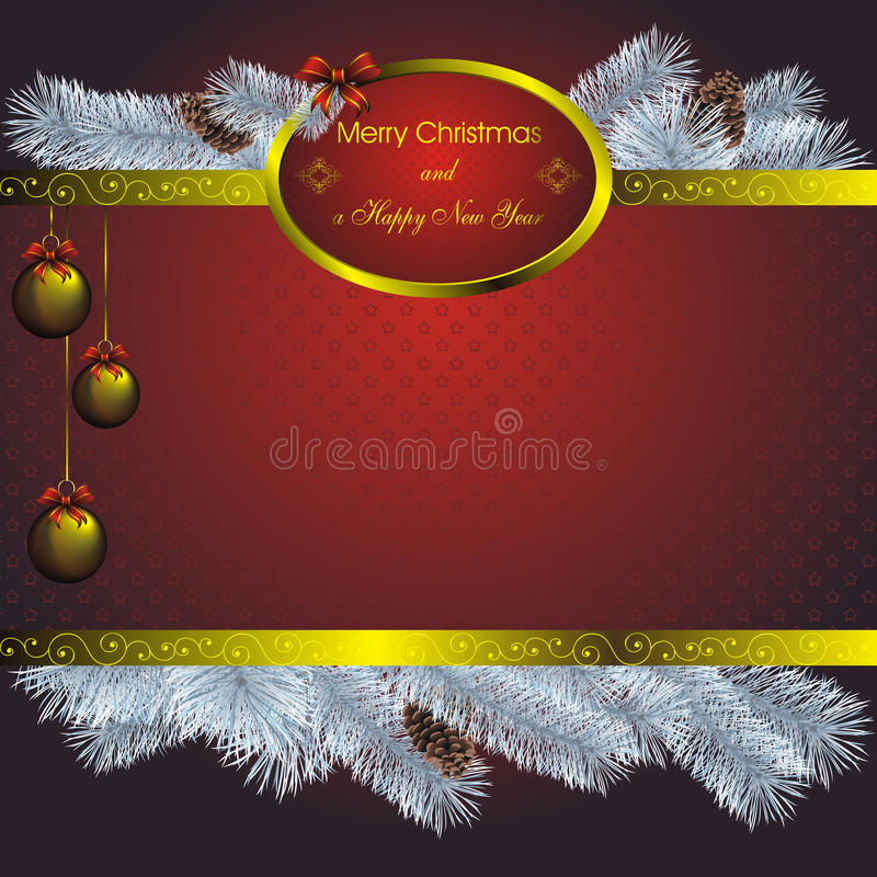New year card with golden label royalty free illustration