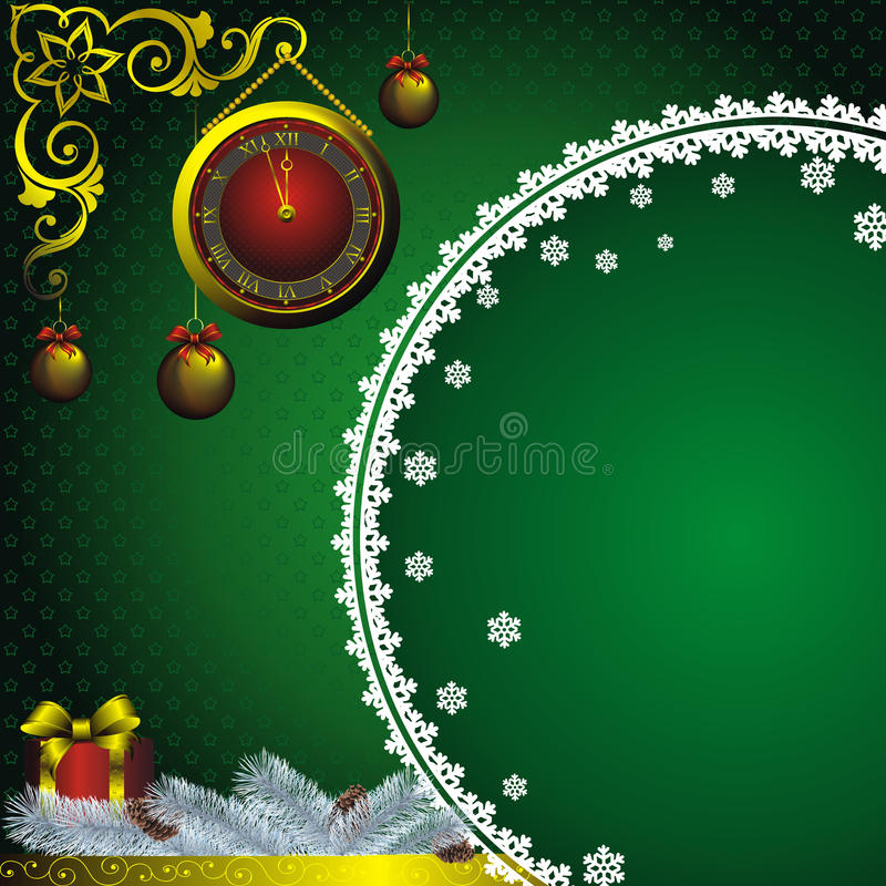 New year card with golden watch vector illustration