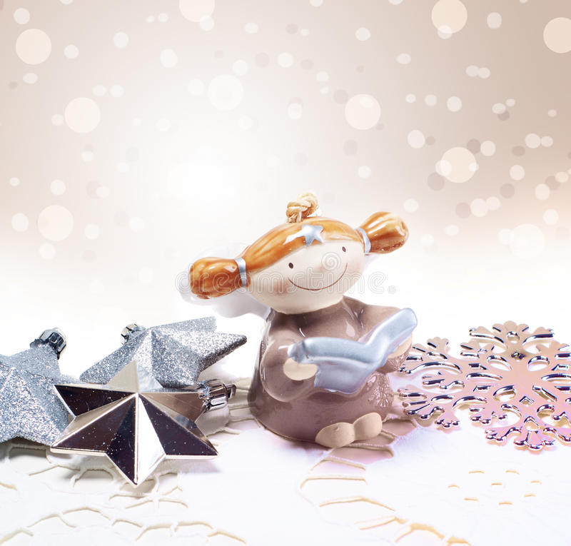 New Year Card For Holiday Design With Angel Royalty Free Stock Photo