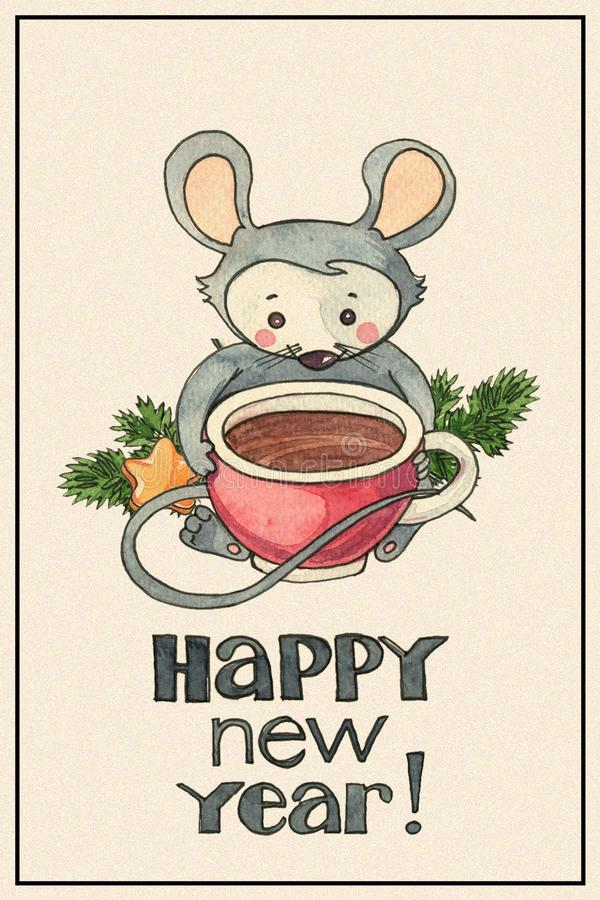 New Year card with mouse stock image