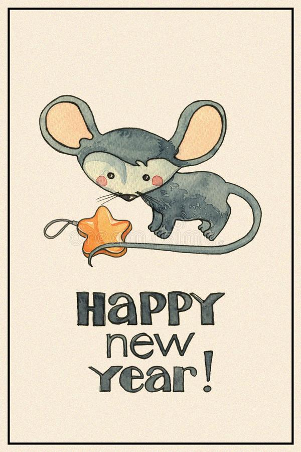 New Year card with mouse stock photos