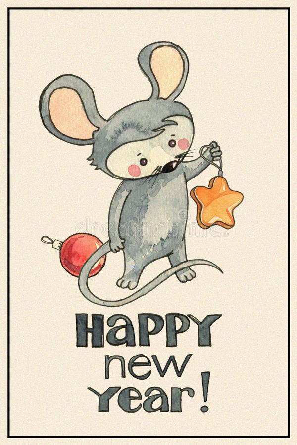 New Year card with mouse stock photography