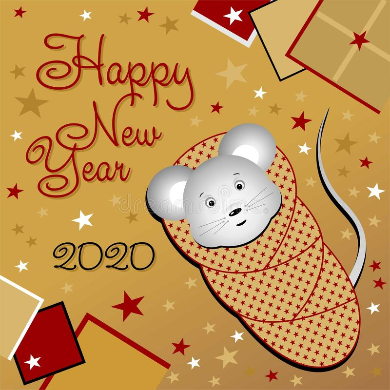 New Year card with a newborn mouse. Happy new year 2020. Little mouse. stock photo
