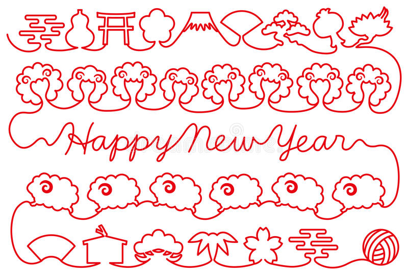 New year card with sheep and Japanese icons. red thread. Red thread of sheep and Japanese icons. New Year's card vector illustration