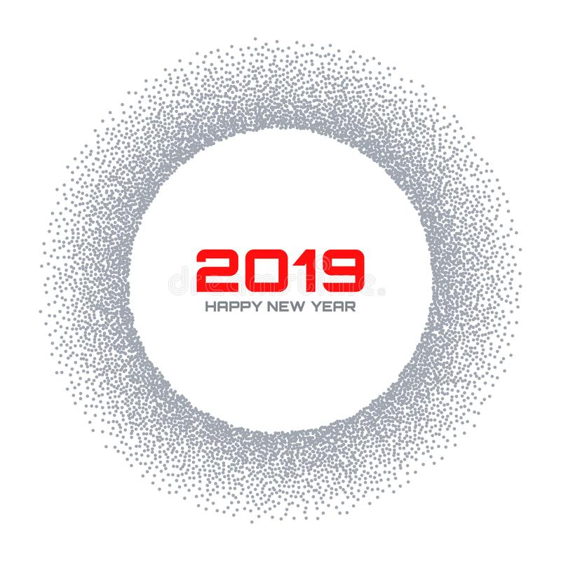 New Year 2019 card. Snow flake circle frame. Halftone gray dots background. Christmas round. Vector illustration. royalty free illustration