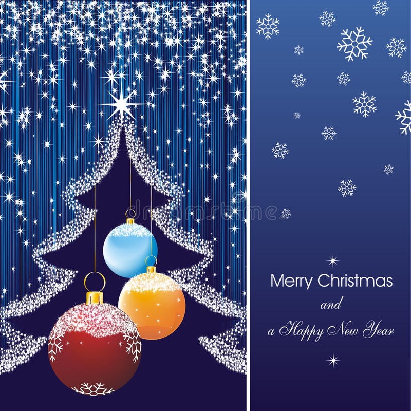 New year card stars in blue vector illustration