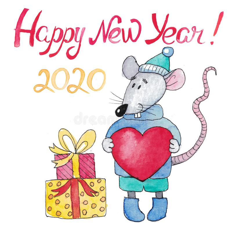 New Year card Symbol of the Year 2020 royalty free stock images