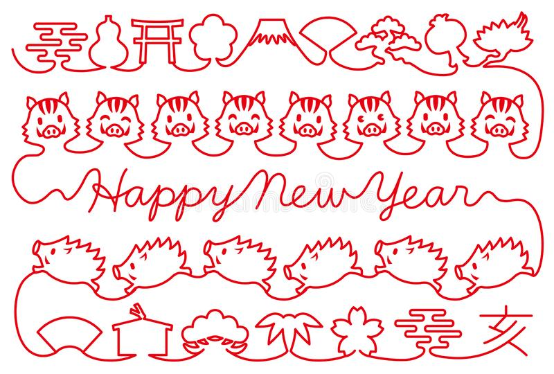 New year card with wild boars and Japanese icons. red thread. Red thread of wild boars and Japanese icons. New Year`s card vector illustration
