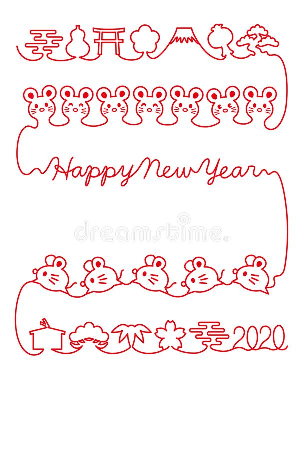 New year cardnew year card with mouse and Japanese icons. red thread. Red thread of mouse and Japanese icons. New Year`s card. The year of the mouse stock illustration