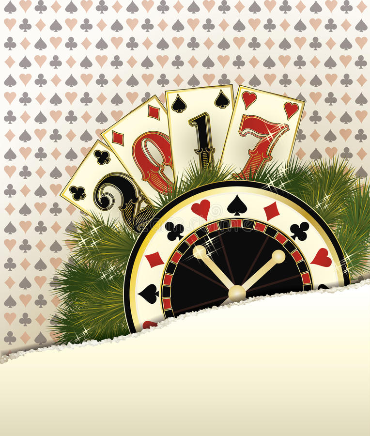 New 2017 Year casino background with poker elements, vector. Illustration royalty free illustration