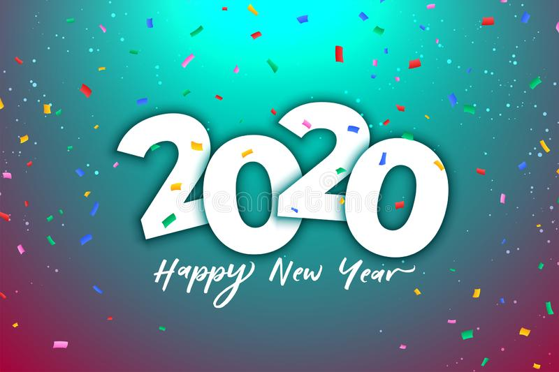 2020 new year celebration background with colorful confetti stock photography