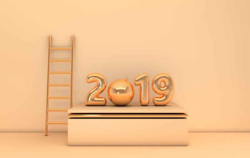 New year 2019 celebration background. Gold metallic numerals 2019, golden ladder, christmas decorative ball on podium, pastel stock illustration