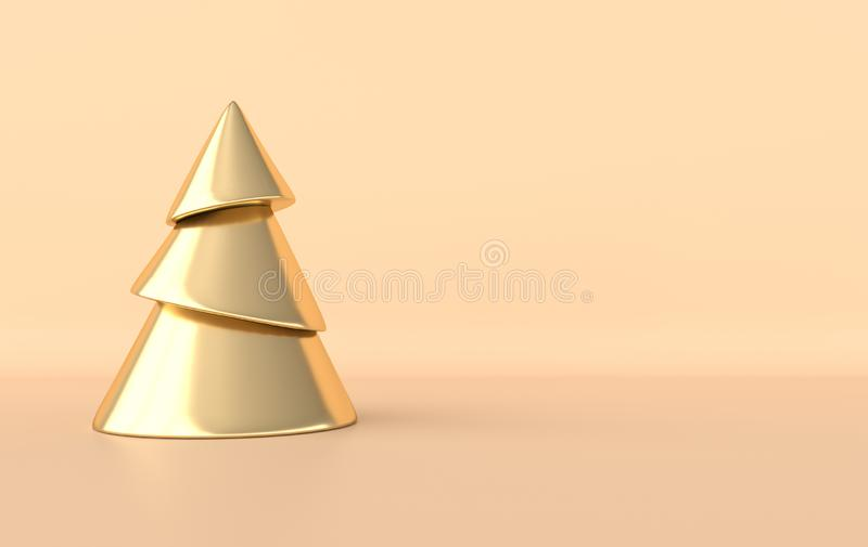 New year celebration background. Golden xmas tree in minimal design. Realistic illustration for New Year`s and Christmas banners. vector illustration