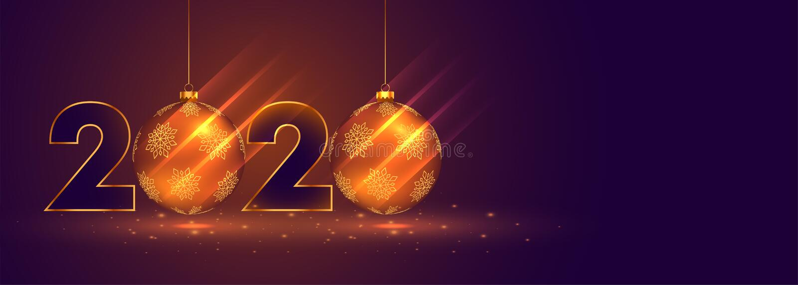New year 2020 celebration banner with christmas balls royalty free illustration