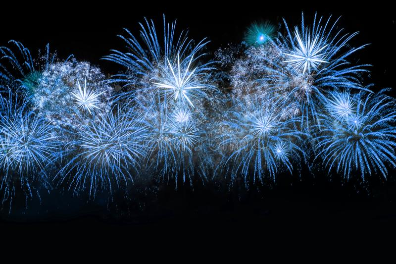 New Year celebration blue fireworks. royalty free stock image