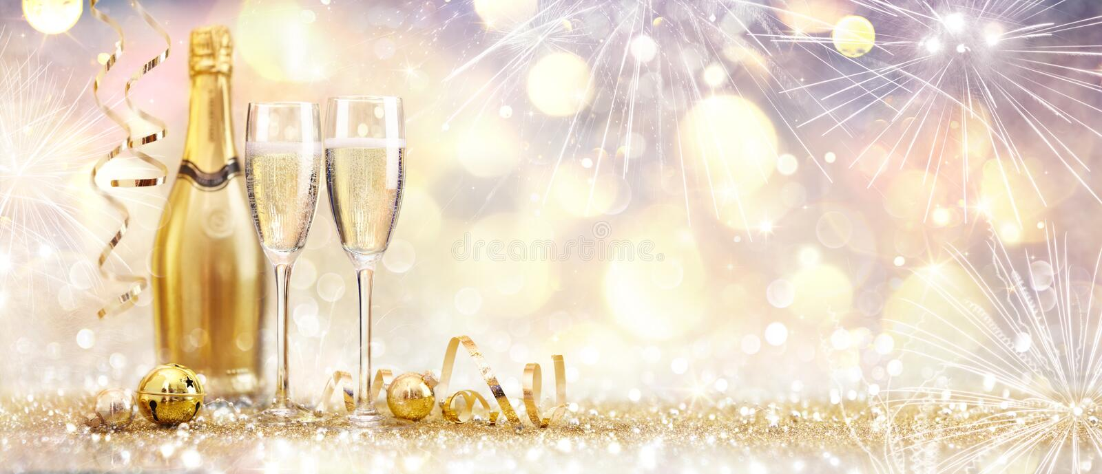 New Year Celebration With Champagne And Fireworks royalty free stock photos