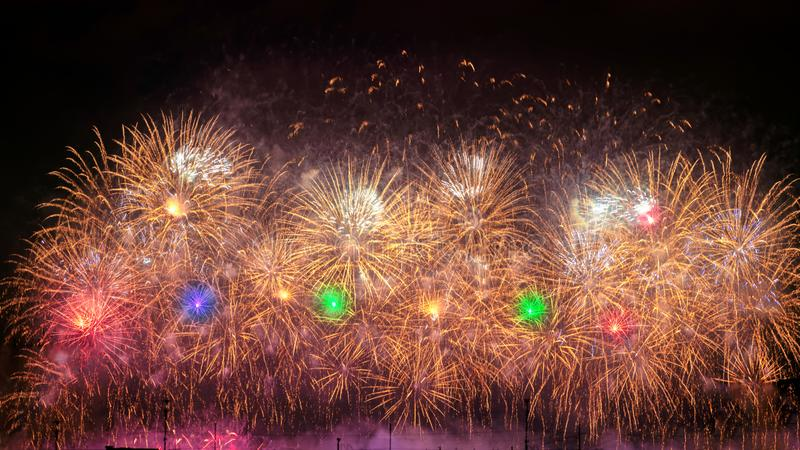 New Year celebration colorful fireworks royalty free stock photo