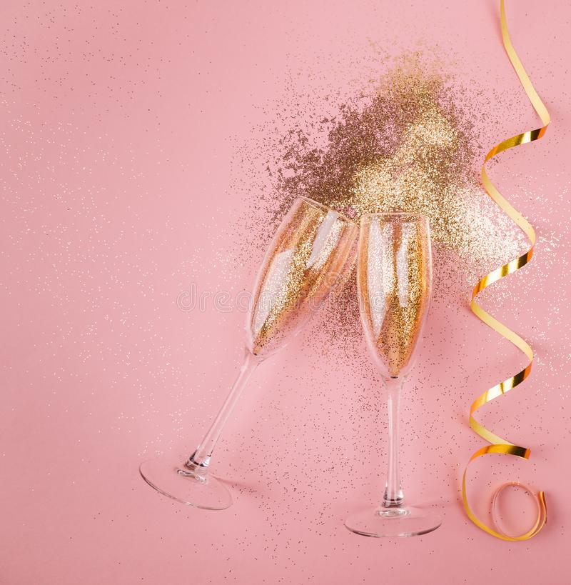 New year celebration concept on pink background stock photo