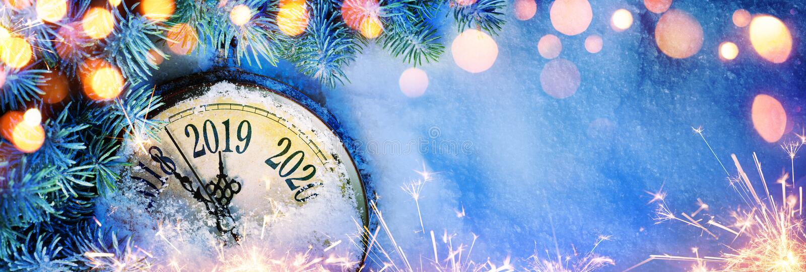 New Year 2019 - Celebration With Dial Clock On Snow vector illustration