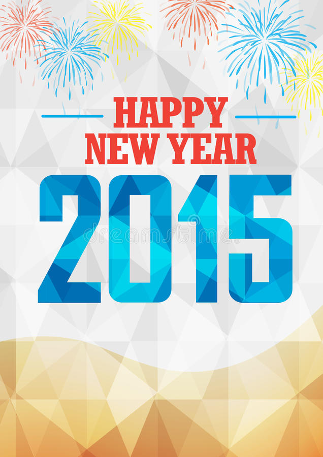 New Year 2015 celebration with fireworks in geometric background stock illustration