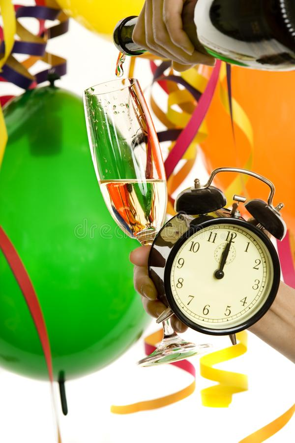 New Year with champagne and clock royalty free stock image