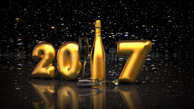 2017 New year champagne. 3D render image representing happy new year 2017 with a bottle of champagne vector illustration