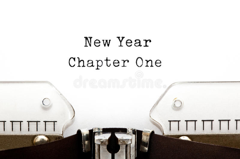 New Year Chapter One Typewriter. New Year Chapter One printed on an old typewriter royalty free stock image