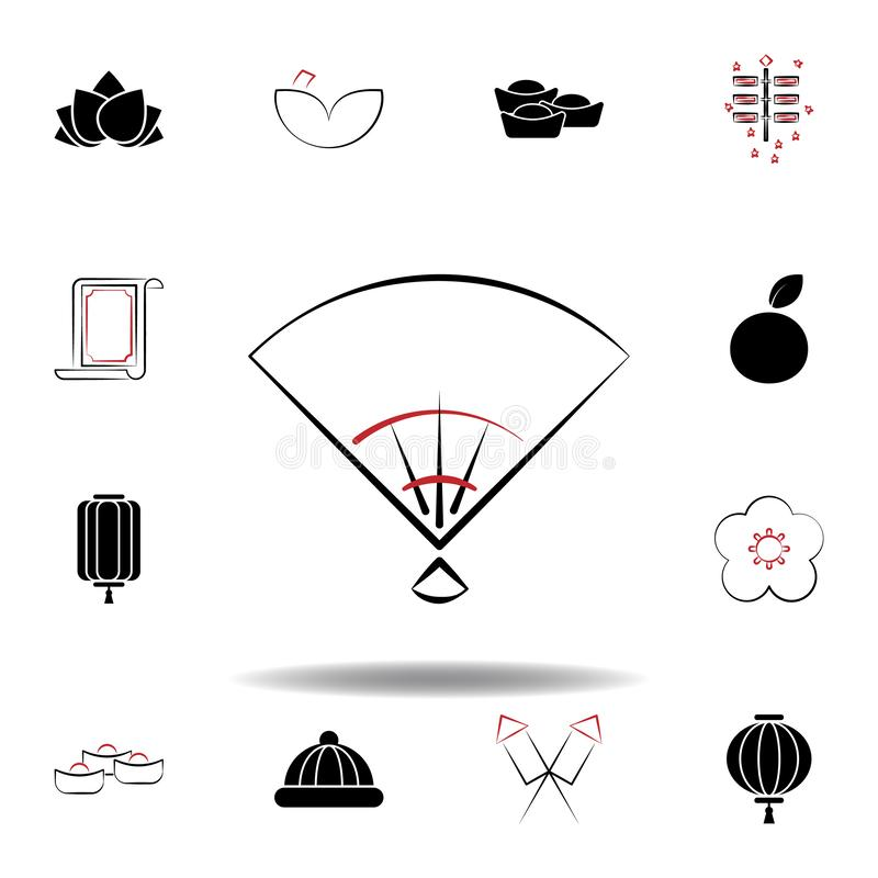 New Year China fan icon on white background. Set of chinese new year illustration icons. Signs, symbols can be used for web, logo, mobile app, UI, UX stock illustration